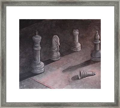 Fallen Chessman Framed Print by Sandy Clift