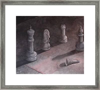 Fallen Chessman Framed Print by Sandy Clift