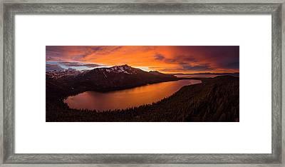Fallen Leaf Lake Sunset Aerial By Brad Scott Framed Print