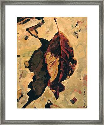 Framed Print featuring the painting Fallen Leaf by Tim  Heimdal