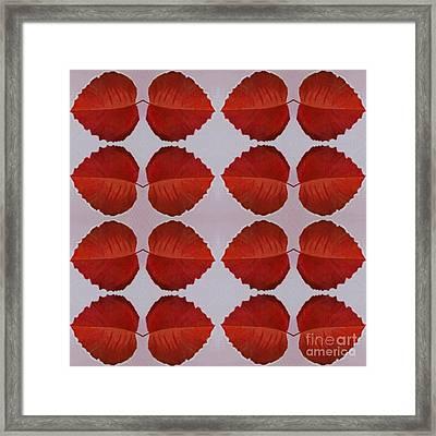 Fallen Leaves Arrangement In True Red Framed Print by Helena Tiainen