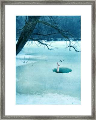 Fallen Through The Ice Framed Print by Jill Battaglia