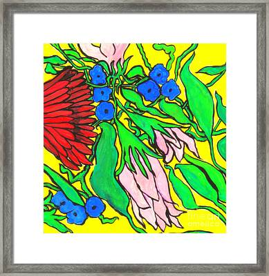 Falling Flowers On Yellow Background Framed Print by Kim Wilcox