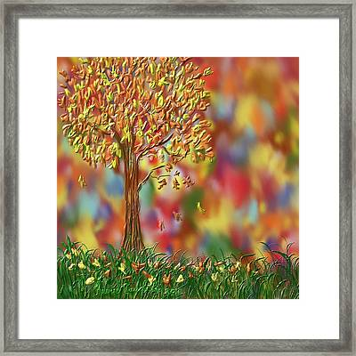 Framed Print featuring the painting Falling Leaves by Kevin Caudill