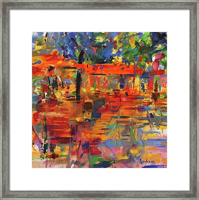 Falling Leaves, Paris Framed Print by Peter Graham