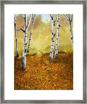 Framed Print featuring the painting Falling Leaves by Sena Wilson