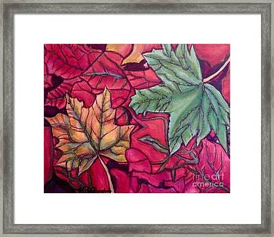 Framed Print featuring the painting Falling Leaves Two Painting by Kimberlee Baxter