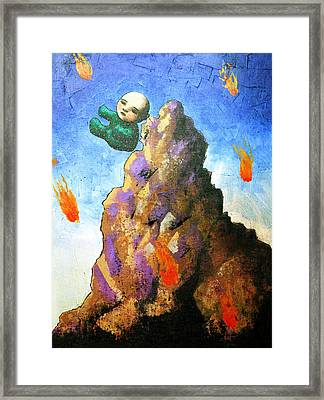 Falling Off The Mountain Framed Print by Pauline Lim