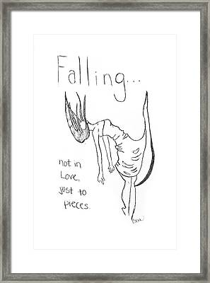 Framed Print featuring the drawing Falling by Rebecca Wood