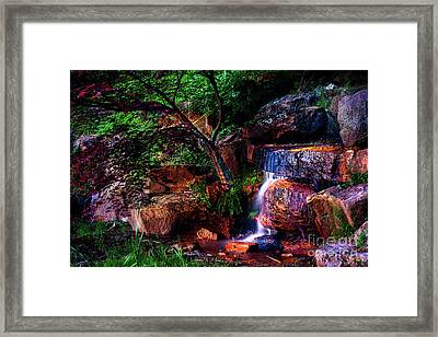 Falling Water At Honor Heights Park Framed Print by Tamyra Ayles