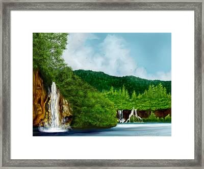 Falling Water Framed Print by Ellen Dawson