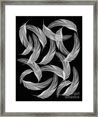 Falling White Feathers Framed Print