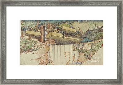 Fallingwater Pen And Ink Framed Print