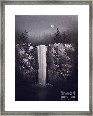 Falls By Moonlight Framed Print by Crispin  Delgado
