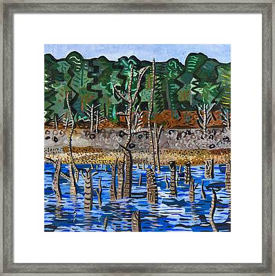 Falls Lake At Six Forks Road Framed Print by Micah Mullen