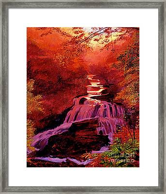 Falls Of Fire Framed Print by David Lloyd Glover