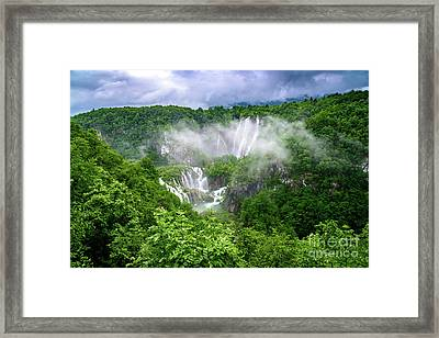Falls Through The Fog - Plitvice Lakes National Park Croatia Framed Print
