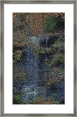 Falls Woodcut Framed Print by David Lane
