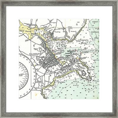 Falmouth Cape Cod Map Framed Print