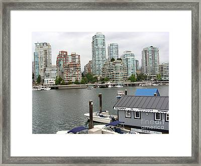 Framed Print featuring the painting False Creek Vancouver by Rod Jellison