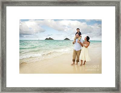 Family At Lanikai I Framed Print by Brandon Tabiolo - Printscapes