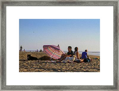Family At Ocean Beach With Dogs Framed Print