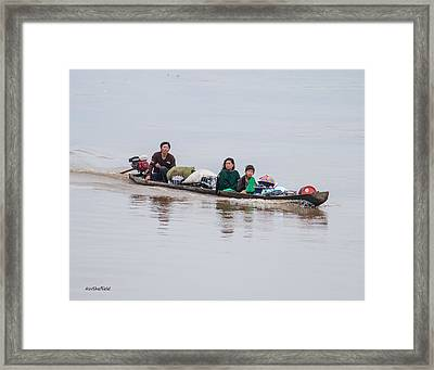 Family Boat On The Amazon Framed Print