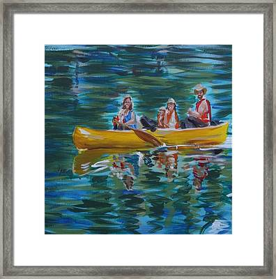 Framed Print featuring the painting Family Canoe Trip From Spring 1 by Jan Swaren