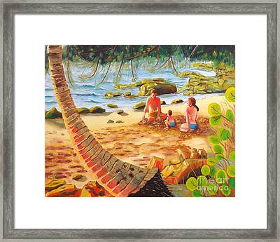 Family Day At Jobos Beach Framed Print by Milagros Palmieri