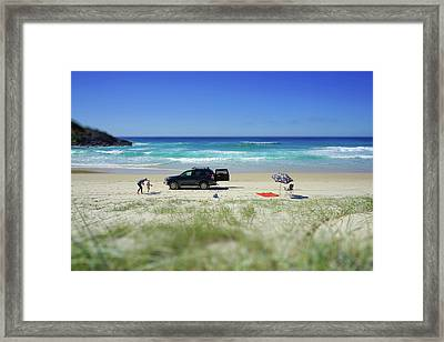 Family Day On Beach With 4wd Car  Framed Print