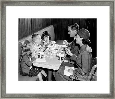 Family Eating Ice Cream Framed Print by H. Armstrong Roberts/ClassicStock