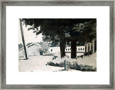 Family Farm Black And White Study Framed Print by Charlie Spear