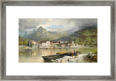 Family Fisherman In Lecco On Lake Como Framed Print