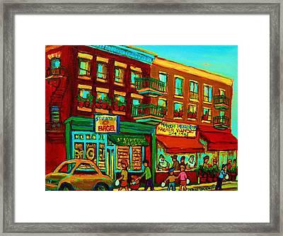 Family Frolic On St.viateur Street Framed Print by Carole Spandau