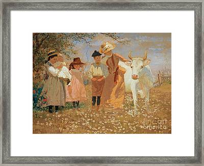 Family Group With Cow Framed Print by Louis Comfort Tiffany