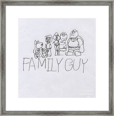 Family Guy Pencil Sketch Framed Print by Vincent Gitto