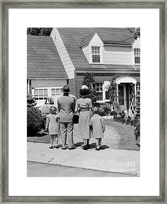 Family Looking At House, C.1940s Framed Print by H. Armstrong Roberts/ClassicStock