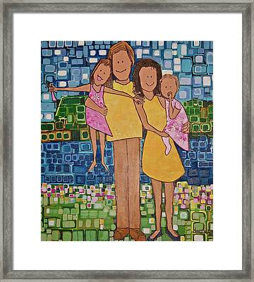Framed Print featuring the painting Family Of 4 by Donna Howard