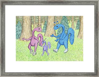Family Of Creatures Framed Print by Kathy Pullen