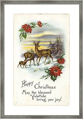 Family Of Deer With Partial Poinsettia Framed Print by Gillham Studios
