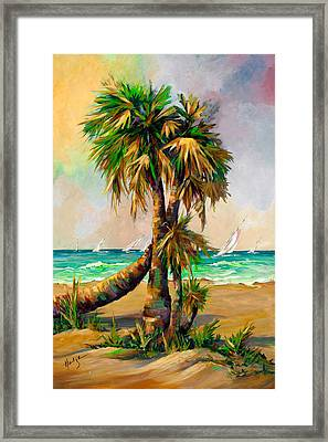 Family Of Palm Trees With Sail Boats Framed Print by Mary DuCharme