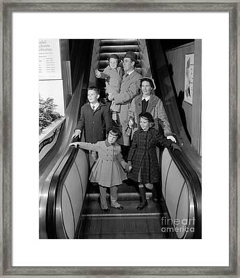 Family On Escalator, C.1950s Framed Print