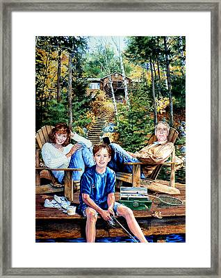 Family On The Dock Framed Print by Hanne Lore Koehler