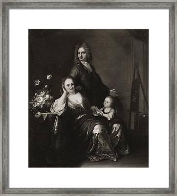 Family Portrait With Flower Still Life Framed Print by Juriaen Pool