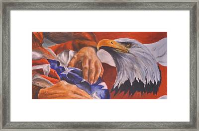 Family Receives Flag Framed Print