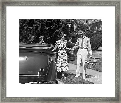 Family Setting Out For Picnic, C.1930s Framed Print