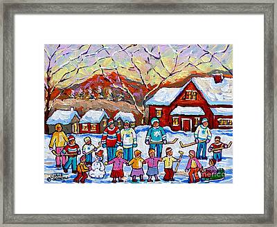 Family Skating Party Paintings Of Children Playing Canadian Country Winter Scene  Art Carole Spandau Framed Print by Carole Spandau