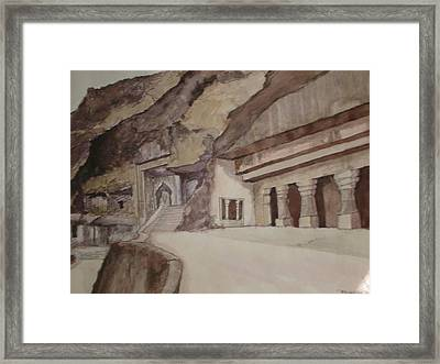 famous Ajantha Caves Framed Print by Bhalchandra Salunkhe