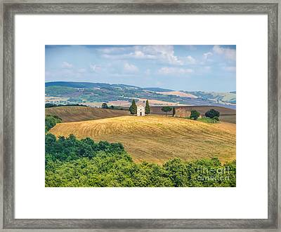 Famous Chapel On Tuscan Hills Framed Print by JR Photography