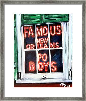 Famous French Quarter Window Sign Framed Print by Terry J Marks Sr